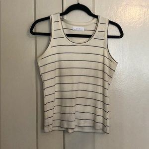Off White & Blue Striped Oak + Fort Sleeveless Top